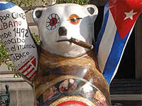 A pack of bears have taken over San Francisco de Asis Plaza in Havana, each one painted by an artist from the country they represent; just like Siboney, a purebred Cuban forest creature with whom domestic and foreign visitors have their souvenir photo taken.